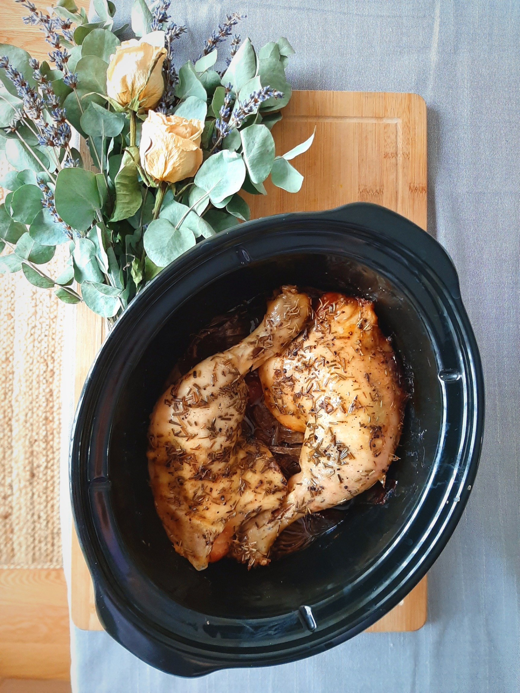 Easy Slow Cooker Rosemary Chicken Quarters