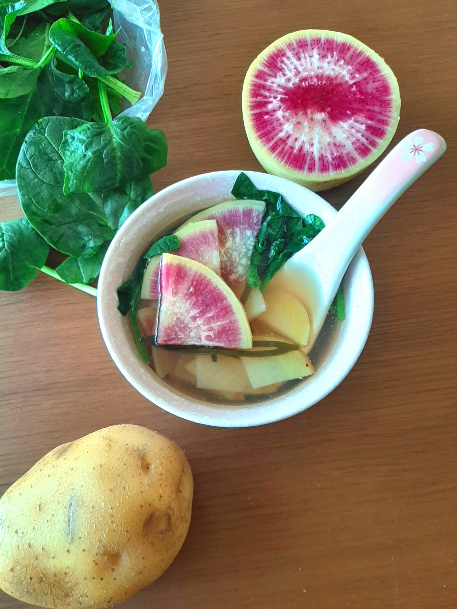 Kelp Soup with Watermelon Radish, vegan, gluten-free