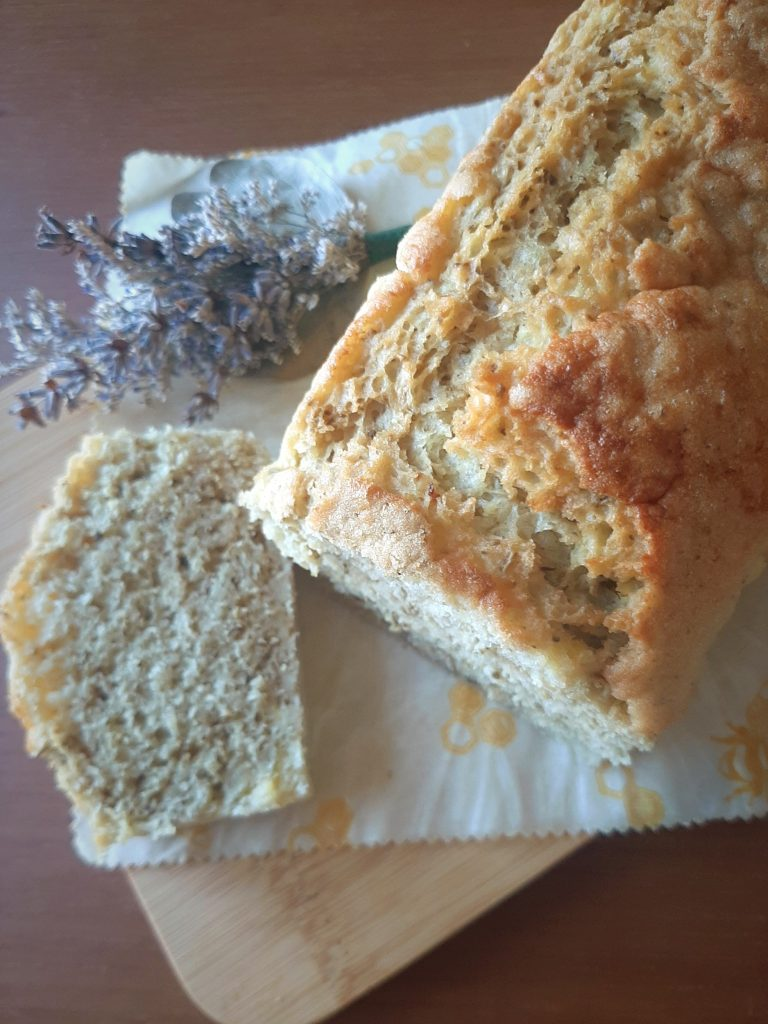 Rosemary Mung bean bread showing crumb cross-section of a cut slice