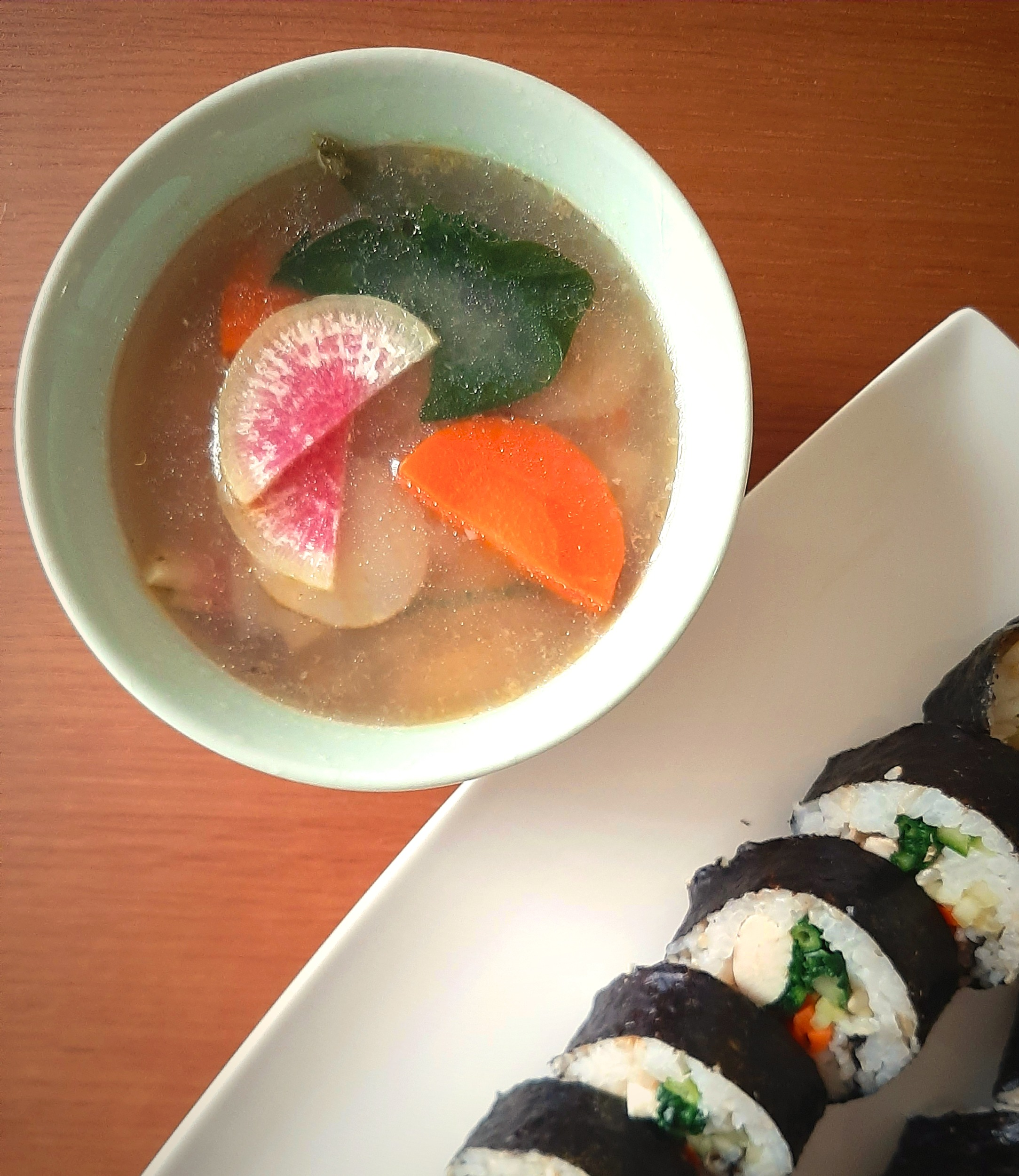 Quick Sunchoke Soup with Radish and Spinach