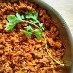 Tomato curry rice closeup