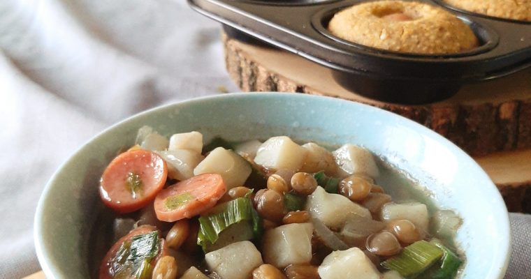 Potato and Leek Stew with Hot Dogs and Lentils