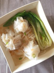 Gluten free wonton in noodle soup with bok choy