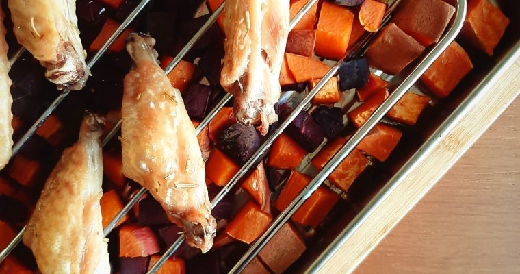 Rosemary Double-split Wings with Root Vegetables