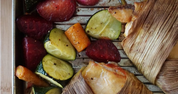 Cornhusk-wrapped Chicken Sheet Pan Dinner