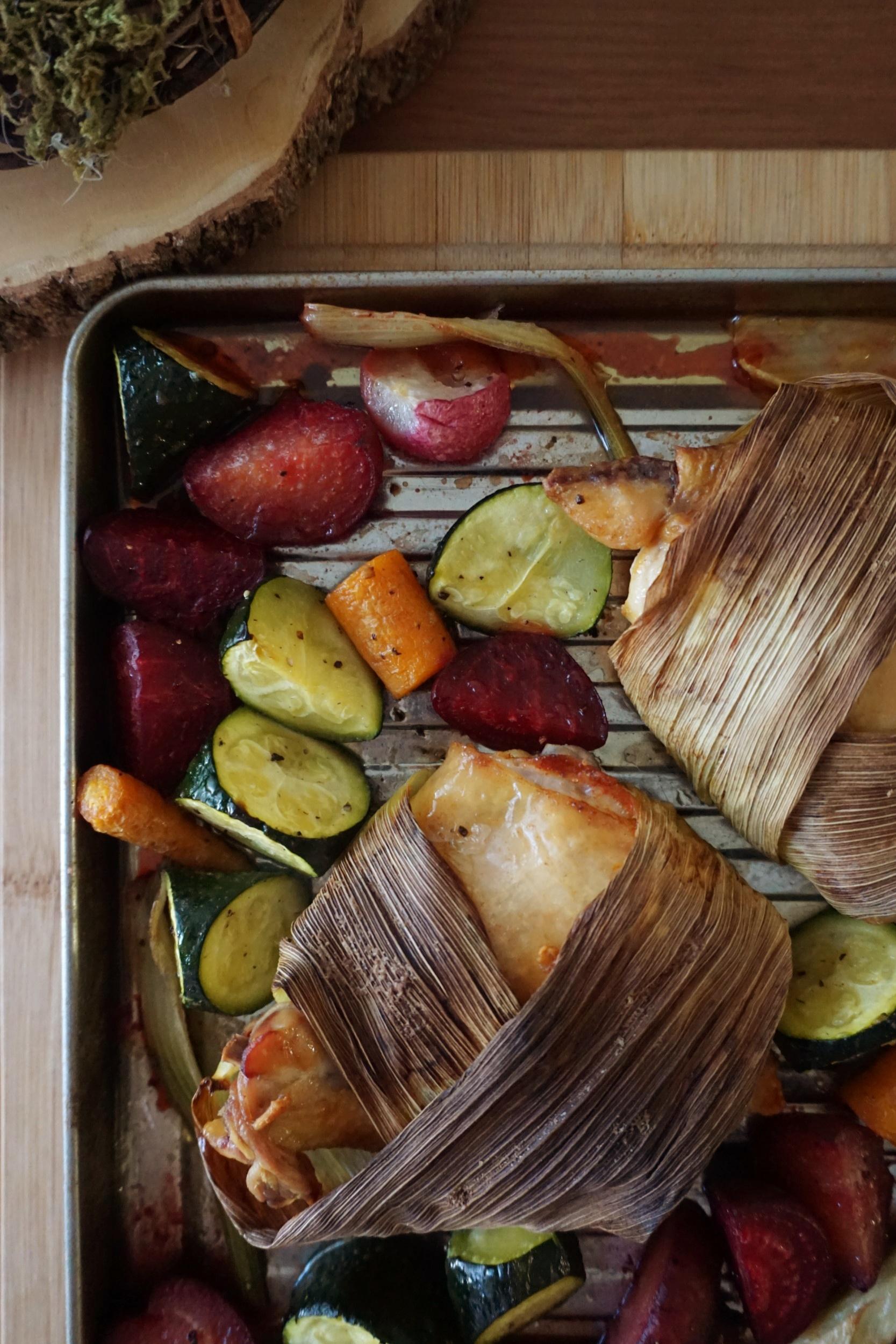 Cornhusk-wrapped Chicken Sheet Pan Dinner