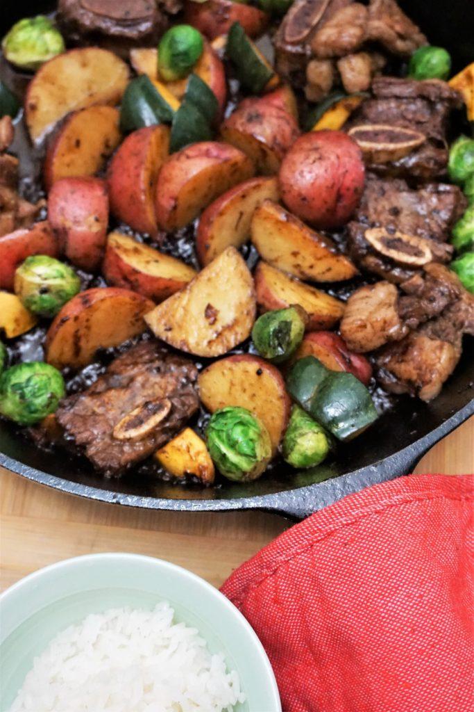 Beef Kalbi skillet with potatoes and brussel sprouts
