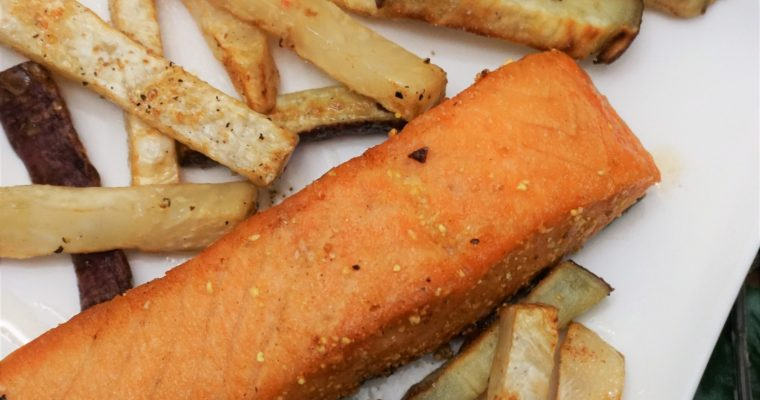 Pan-seared salmon with celeriac fries
