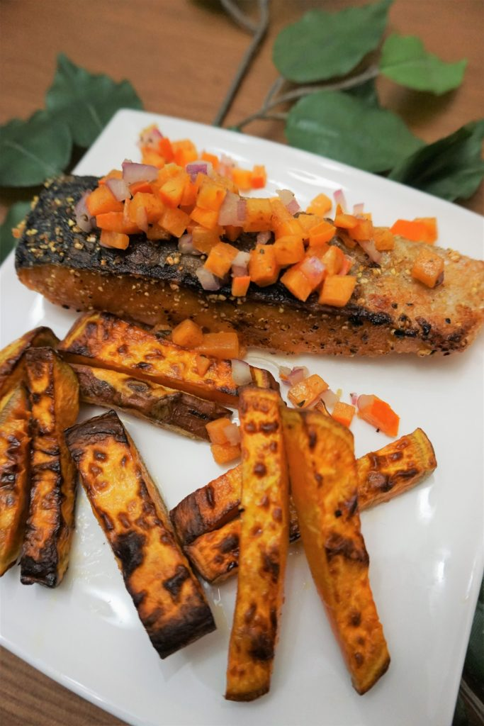 salmon and sweet potato fries with persimmon salsa