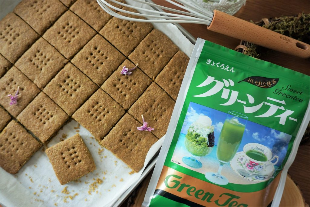 Green tea graham crackers with green tea powder package