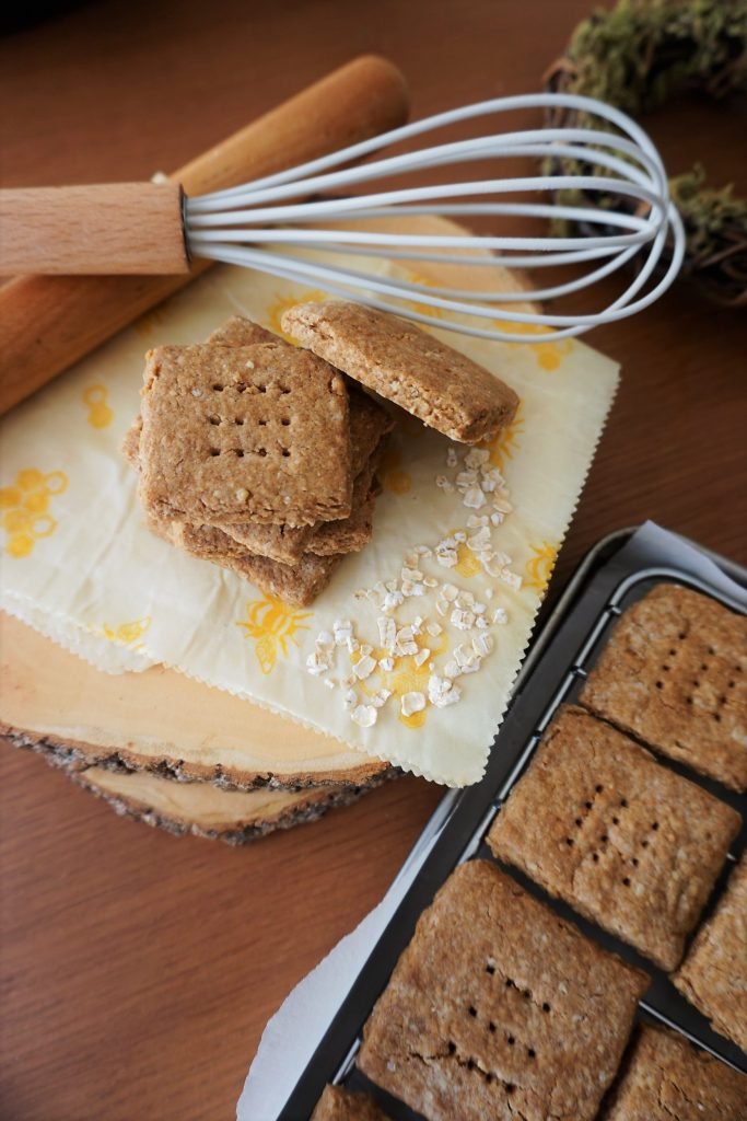 Original Gluten free graham cracker stacked with whisk