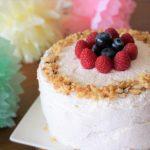Gender reveal cake decoration closeup