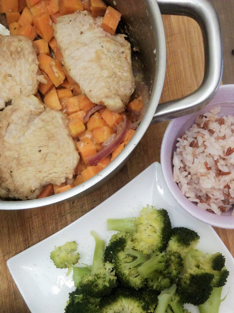 Pork chop cutlets with sweet potatoes