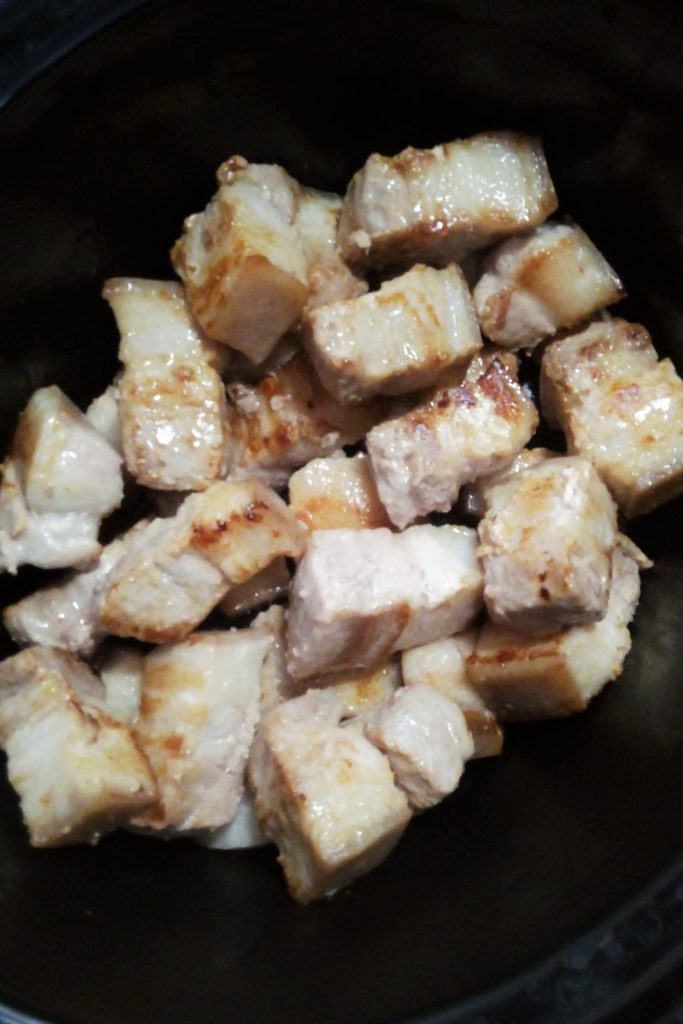 Pork belly in slow cooker for red braised recipe
