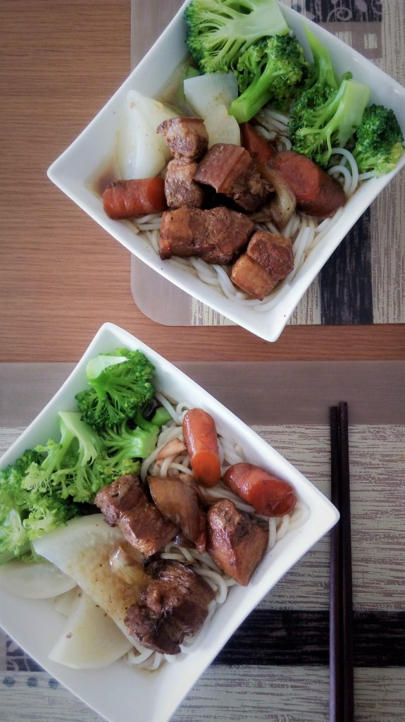 Taiwanese five spice stewed pork belly on rice noodle