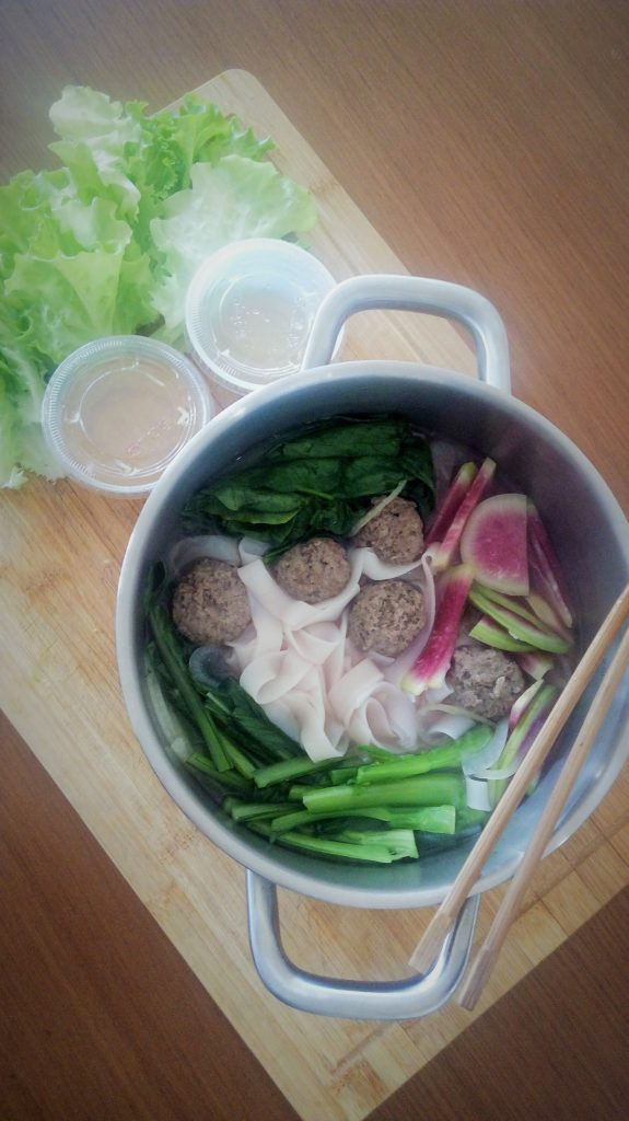 Chinese five-spice beef balls on rice noodles