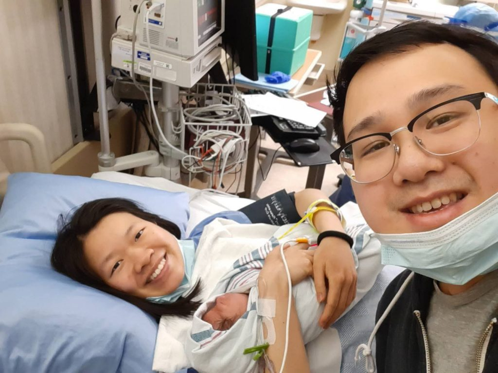 selfie with hubby after caesarean birth