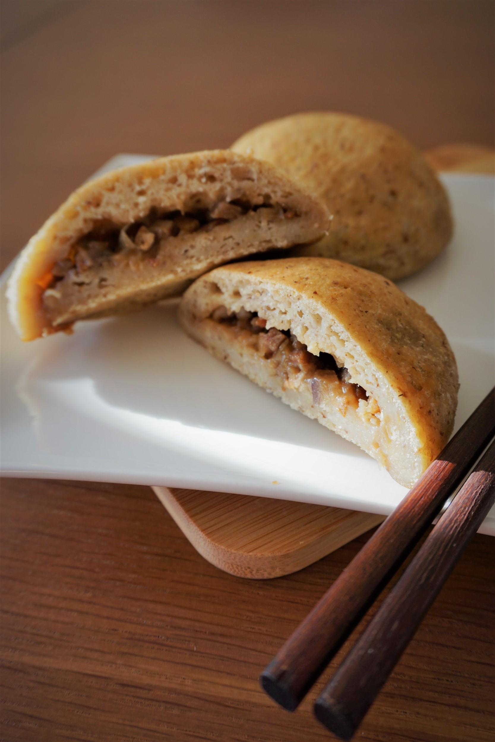 GF sourdough baked BBQ pork buns (char siu bao)